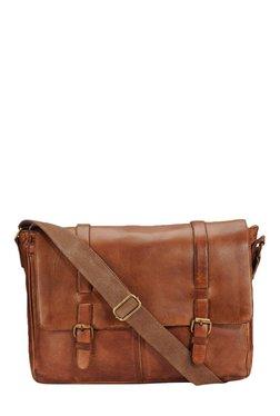 Teakwood Leathers Tan Solid Leather Laptop Messenger Bag