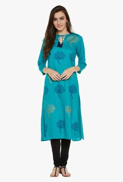 9rasa Green Block Print Cotton Viscose Kurta
