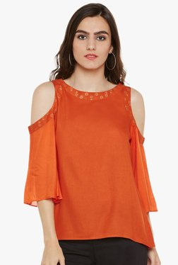 9rasa Orange Round Neck Cotton Viscose Top