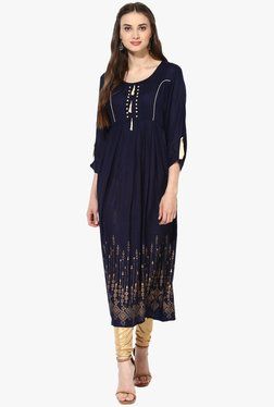 Mytri Navy Printed Rayon Anarkali Kurta - Mp000000001800945