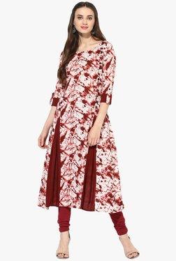 Mytri Maroon & White Printed Rayon Anarkali Kurta