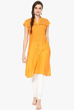 Mytri Yellow Embroidered Cotton Kurta