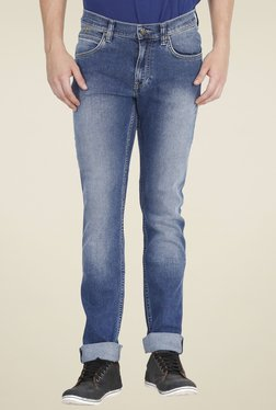 Lee Dark Blue Solid Mid Rise Jeans
