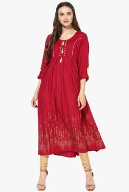 Mytri Red Printed Rayon Anarkali Kurta