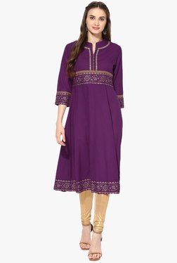 Mytri Purple Embroidered Rayon Anarkali Kurta