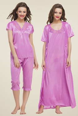 Clovia Pink Lace Nightwear Set