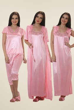 Clovia Baby Pink Lace Nightwear Set