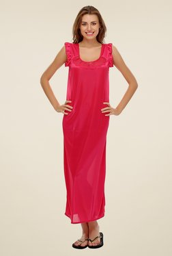 Clovia Pink Full Length Round Neck Nighty