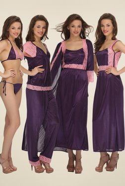 Clovia Purple Lace Nightwear Set