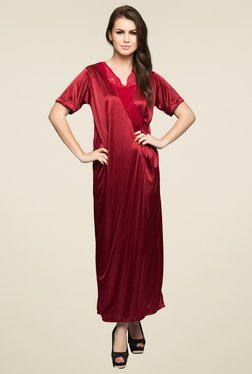 Clovia Maroon Lace Nightwear Set