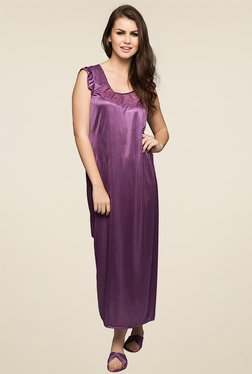 Clovia Purple Round Neck Nighty