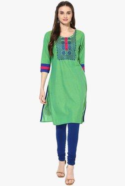 Mytri Green Embroidered Cotton Kurta