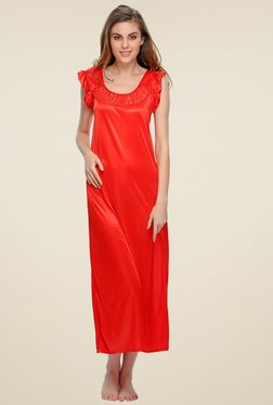 Clovia Red Round Neck Nighty