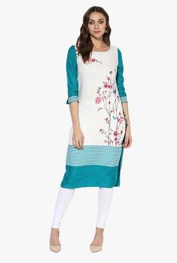 Juniper Green & Off White Floral Print Rayon Kurta