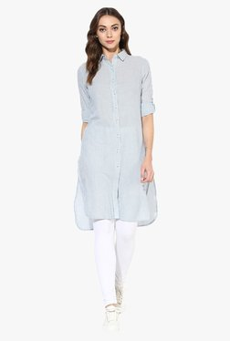 Juniper Blue Striped Polyester Kurta
