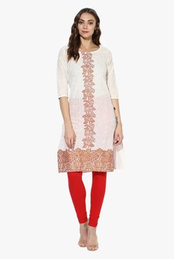 Juniper Red & Off White Printed Cotton Kurta