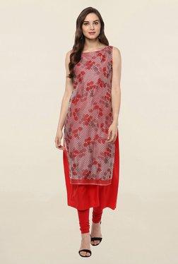 Ahalyaa Red Printed Crepe Kurta
