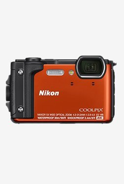 Nikon Coolpix W300 16 MP Point   Shoot Camera with 16 GB SD Card, Carry Case and HDMI Cable  Orange  Nikon Electronics TATA CLIQ