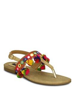 b76652b0083 Kielz Golden T-Strap Sandals