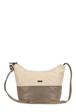 Lavie Sisal Cream & Grey Color Block Hobo Sling Bag