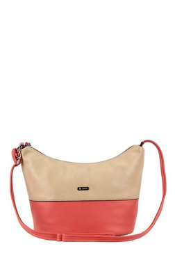Lavie Sisal Beige & Coral Pink Color Block Hobo Sling Bag