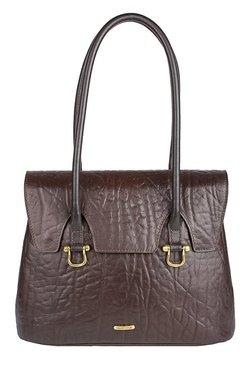 Hidesign Cera 03 Dark Brown Textured Laptop Shoulder Bag