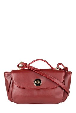 Hidesign Vitello 01 Red Leather Trapeze Sling Bag