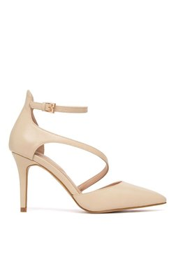 Aldo Vetrano Beige Ankle Strap Stilettos
