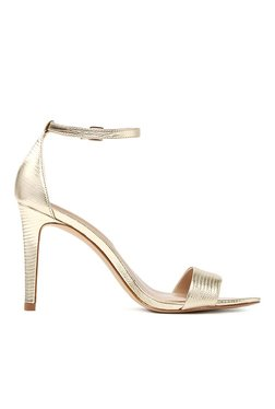 Aldo Camy Champagne Gold Ankle Strap Stilettos
