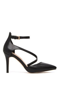 Aldo Vetrano Black Ankle Strap Stilettos