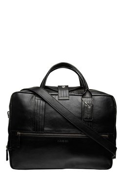 Hidesign I Bag AL01 Black Leather Laptop Messenger Bag