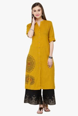 Varanga Mustard & Black Embroidered Rayon Kurta With Palazzo