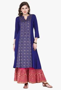 Varanga Blue & Pink Printed Cotton Kurta With Palazzo