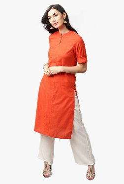 Jaipur Kurti Orange & Off White Kurta With Palazzo