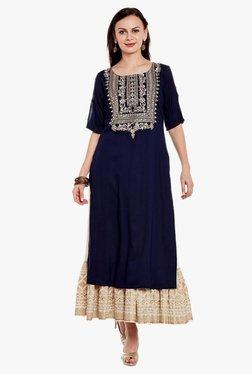 Varanga Navy & Ivory Embroidered Kurta With Skirt