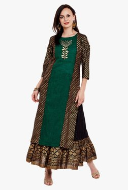 Varanga Green & Black Embroidered Kurta With Skirt