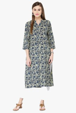 Varanga Blue Printed Cotton Kurta - Mp000000001813146
