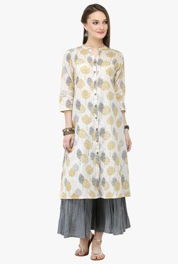 Varanga White & Grey Printed Cotton Kurta With Palazzo