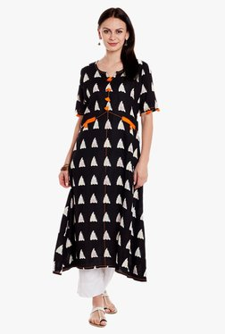 Varanga Black & White Printed Kurta With Pant