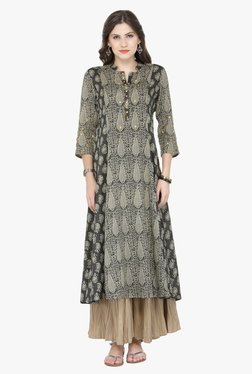 Varanga Black & Beige Printed Cotton Kurta With Palazzo - Mp000000001813773