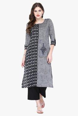 Varanga Grey & Black Embroidered Rayon Kurta With Palazzo