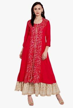 Varanga Red & Ivory Printed Kurta With Skirt