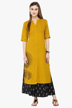 Varanga Mustard & Black Embroidered Kurta With Palazzo
