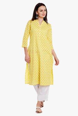 Varanga Yellow & White Printed Cotton Kurta With Pant