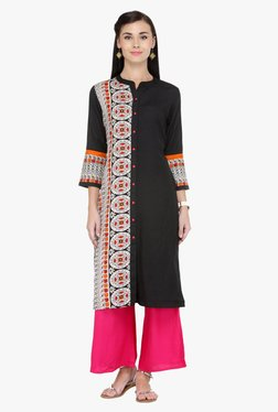 Varanga Black & Pink Printed Cotton Kurta With Palazzo
