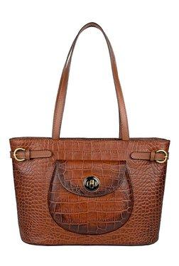 Hidesign Croco 03 Brown Textured Leather Shoulder Bag