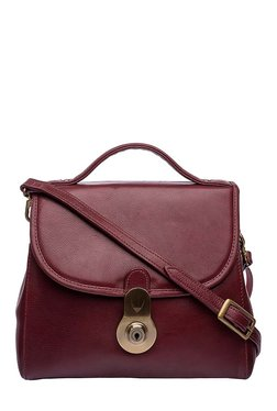 Hidesign Marina Maroon Solid Leather Sling Bag