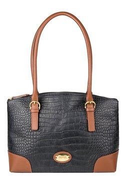Hidesign Saturn 01 SB Black & Tan Textured Shoulder Bag