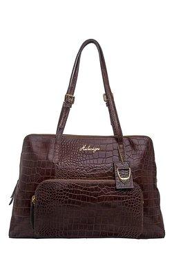Hidesign 109 02 Dark Brown Textured Leather Shoulder Bag