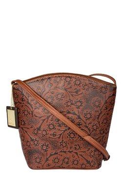 Hidesign Hamburg Brown Printed Leather Sling Bag